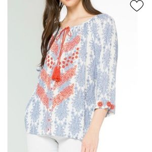 THML Embroidered Floral Boho Blouse
